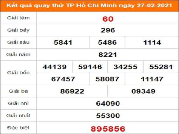 Quay thử kết quả xổ số tỉnh Hồ Chí Minh 27/2/2021