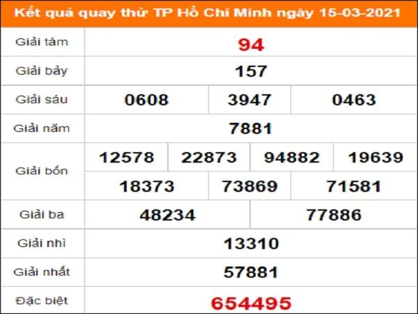 Quay thử XS Hồ Chí Minh ngày 15/3/2021 thứ 2