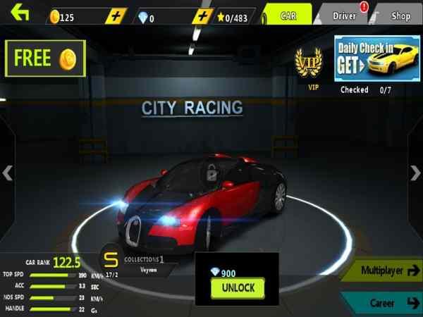 Giao diện game Street Racing 3D có nhiều tính năng hấp dẫn