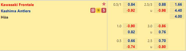 Tỷ lệ kèo bóng đá giữa Kawasaki Frontale vs Kashima Antlers